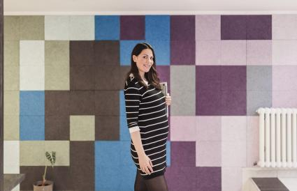 pregnant businesswoman in her office