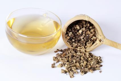 Cup of tea with dried black cohosh root and tea strainer