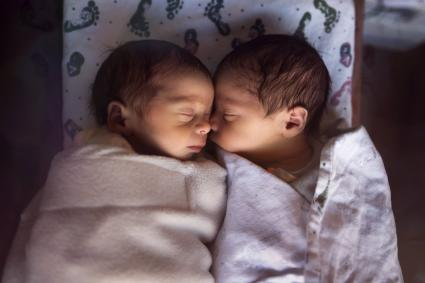 Premature Newborn Fraternal Twins in Hospital Sleep Together
