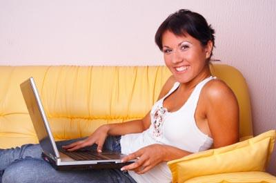 A woman researching infertility treatments online