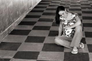 Pregnant teenage girl in school