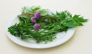 Image of a plate of fresh herbs