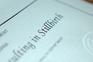 Photo of a stillbirth certificate