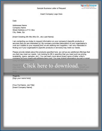 Sample business letter of request