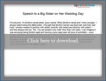 Speech on big sister's wedding day