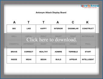 Antonym Attack Printable Game