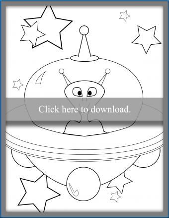 Alien in Spaceship Coloring Page
