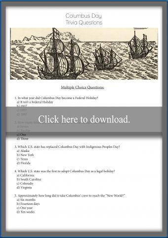 Columbus Day Trivia Questions and Answers