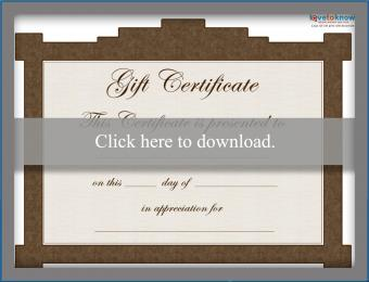 Gift Certificate Template for Free Brown