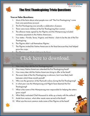 First Thanksgiving Trivia