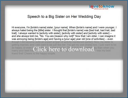 Speech on big sister's wedding day