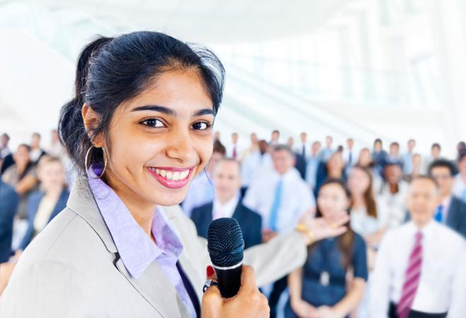 Woman ready to give speech