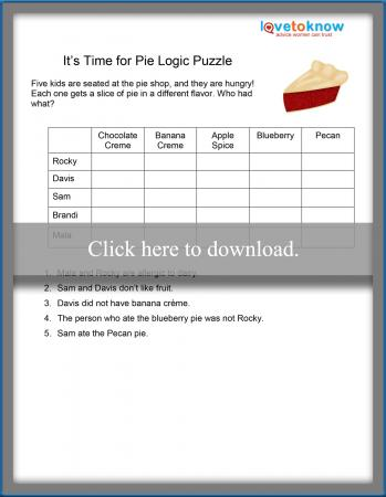 photo relating to Logic Puzzles for Kids Printable titled Pie Logic Puzzle LoveToKnow