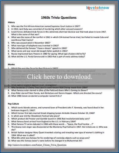 photo relating to American History Trivia Questions and Answers Printable identified as 60s Printable Trivia Issues and Methods LoveToKnow