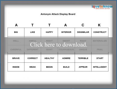 Antonym Attack Printable Game