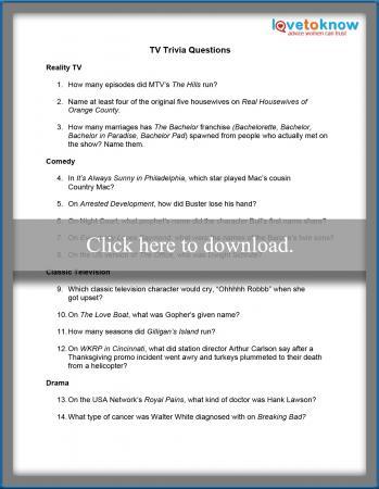 Printable TV Trivia | LoveToKnow