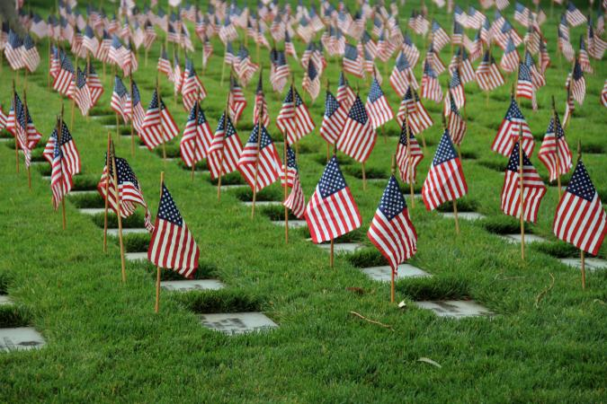 Flags grave markers