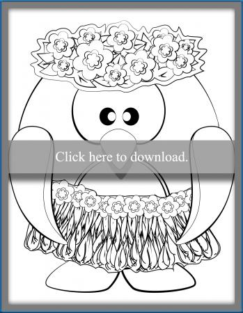 Hawaiian Penguin Coloring Page