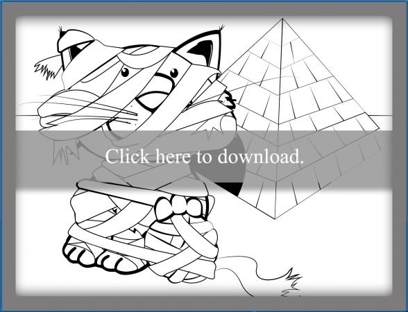 Funny Cat Mummy Coloring Page