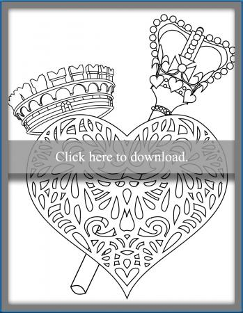 Heart Crown and Scepter Coloring Page