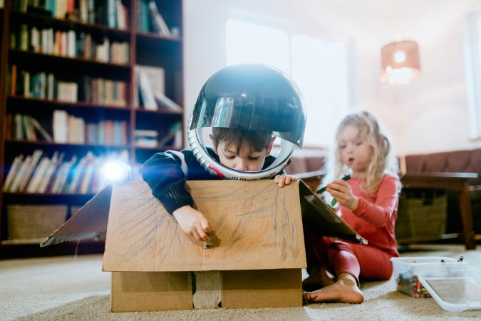 Children coloring space adventure cardboard box