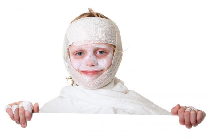 Child dressed in mummy costume