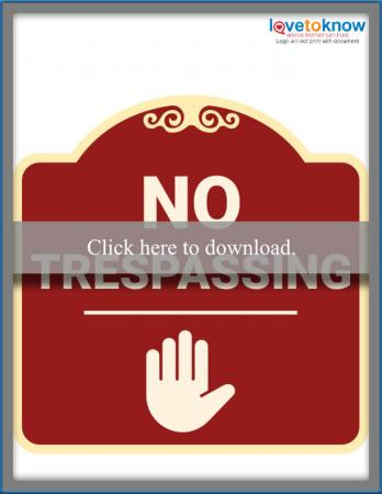 Stop No Trespassing Sign