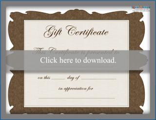 Free brown gift certificate template