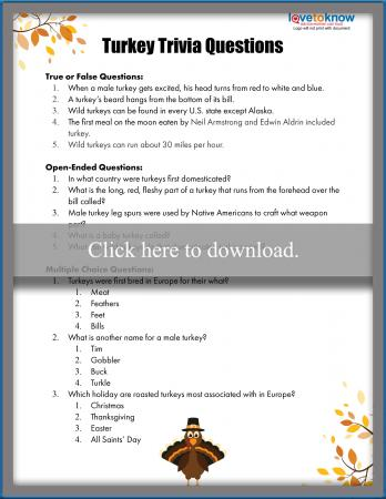picture regarding Easter Trivia Printable known as Thanksgiving Trivia Concerns With Printables LoveToKnow