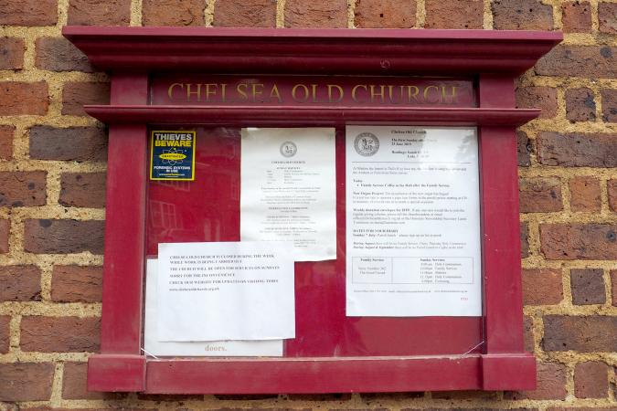 Chelsea Old Church bulletin board in London