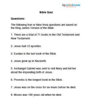 graphic relating to Printable Trivia Questions referred to as Printable Bible Trivia Concerns LoveToKnow