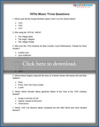 picture relating to Mardi Gras Trivia Quiz Printable titled Printable Entertaining Trivia Inquiries LoveToKnow