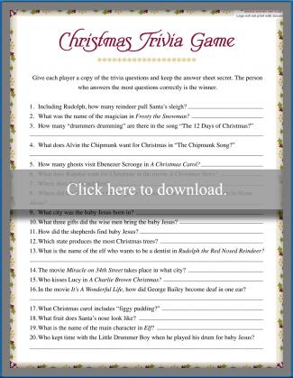 Christmas Bible Trivia.Printable Fun Trivia Questions Lovetoknow