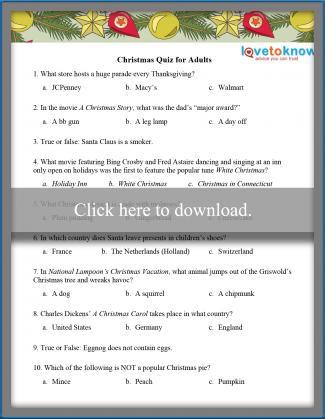 Adult Christmas Trivia