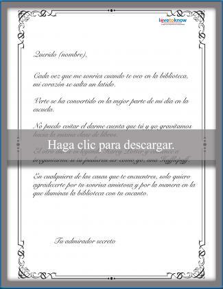 Ejemplo de carta de admirador secreto