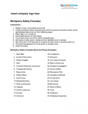 Workplace Safety Charades