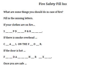 Fire safety fill-ins