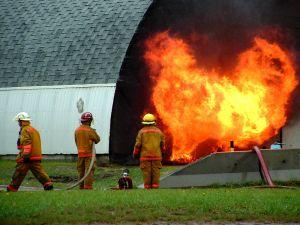 putting out a fire