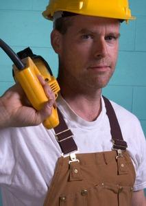 Man in work overalls