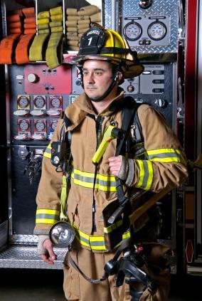 Firefighter in full gear.