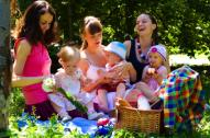 women and children on a picnic