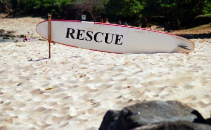 Rescue surfboard on beach