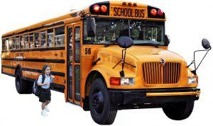 Girl getting on a school bus