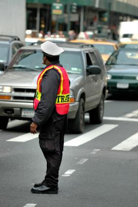 New York City traffic officer at work.