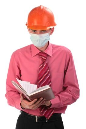 worker with textbook