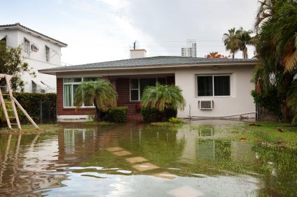 A house in a flooded area