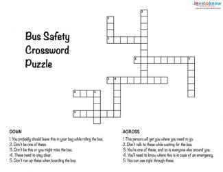 Bus Safety Crossword Puzzle