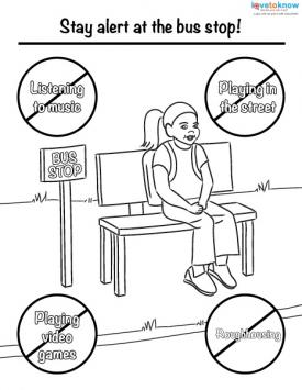 Bus stop safety coloring page