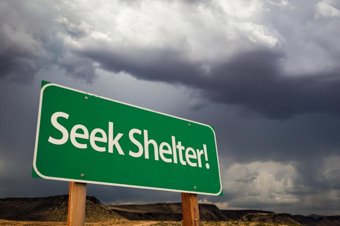 Seek shelter sign