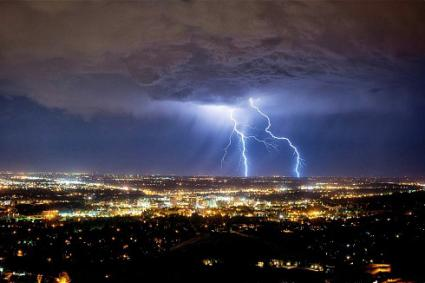 Lightning and thunderstorm